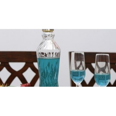 Ribbed Crystal Glass Water Bottle of 900 Ml in Transparent color