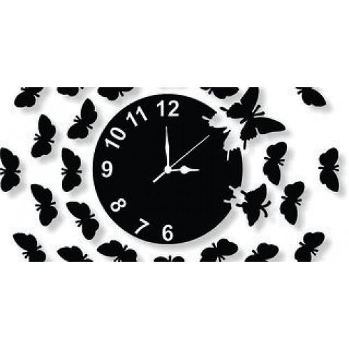 Stylish Black Butterfly Wall Clock